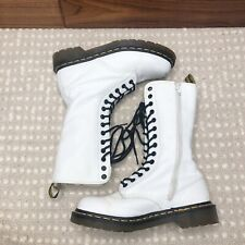 Dr. Martens Miranda White Leather 14 Eye Lace Up Zip Boot US Size 7 UK 5 EU 38