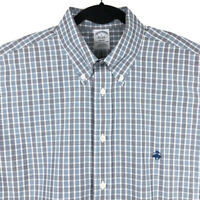 Brooks Brothers Regent Fit Mens Blue Plaid Long Sleeve Button Shirt Size Large
