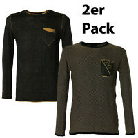2er Pack Eksi1 Herren Designer Slim Fit Long Sleeve Strick Pullover Meliert