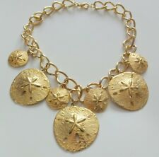 Vintage Yellow Gold Tone Sand Dollars Couture Runway Chunky Charm Necklace