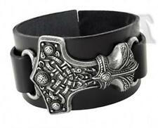 Viking Mjölnir Hammer on Leather Strap wristband Bracelet - Thunder Hammer