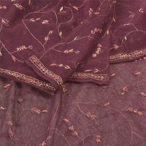 Sanskriti Vintage Heavy Dupatta Net Mesh Purple Hand Embroidered Zardozi Stole
