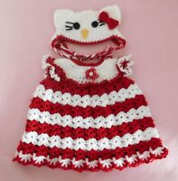 """American Girl Doll Clothes Crochet Red Kitty Dress & Hat Fit American Girl 18"""""""