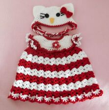 American Girl Doll Clothes Crochet Red Kitty Dress & Hat Fit American Girl 18""