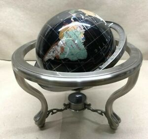 "Vintage Rotating Semi-Precious Gem Stone 11"" World Globe"
