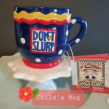 Mary engelbreit decorative collectibles child's teacup coffee mug polka dot blue