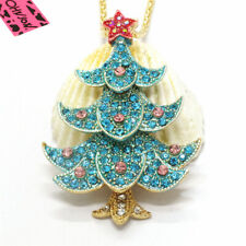 Hot Blue Star Bling Christmas Tree Crystal Betsey Johnson Pendant Women Necklace