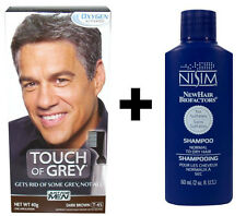 Just For Men Touch of Grey Dark Brown Grey T45 Hair Colour Dye + Nisim Shampoo