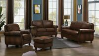 Traditional Living Room 3-Piece 100% Leather Sofa Loveseat Chair Couch Set Brown