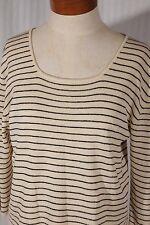 MAX STUDIO Womens Size L Large Beige/Black Striped Scoopneck 3/4 Sleeve Knit Top