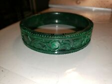 NATURAL OLD CARVED ANTIQUE GREEN JADE BANGLE BRACELET  VINTAGE MUST SEE