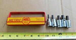 "5 MAC METRIC 3/8"" DRIVE SHORT HEX DRIVER SOCKETS IN MAC TRAY 10 9 8 7 4mm"