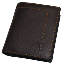 New Leather Wallet For Mens Credit Card Purse Coin Zipper Pocket Brown F5019A