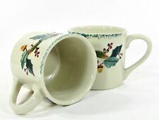 Hartstone Pottery CHRISTMAS GARLAND 14oz Mug Set 2Pc Holly Berry Acorn Ribbon