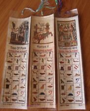 3 x  Egyptian Papyrus Bookmarks with Hieroglyphic/English Alphabet. #13