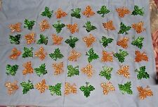 """116 GLASS Leaves with loop-crafting/decoration-50 green & 66 orange/amber-3 3/4"""""""
