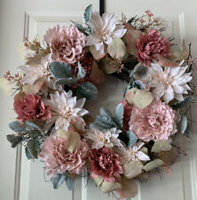 """Artificial Wreaths Multi Flower - 15"""" Pink Door Green Leaves Spring For Front"""