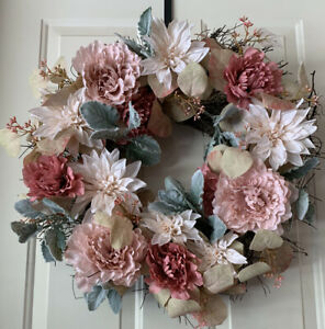 "Artificial Wreaths Multi Flower - 15"" Pink Door Green Leaves Spring For Front"