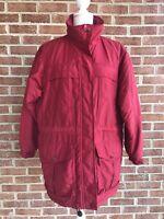 Columbia Women's Long Insulated Red Parka Winter Coat Mountain Jacket Sz Medium
