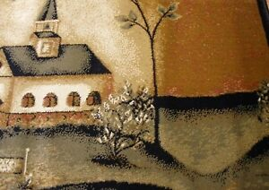 Country Scene with Church & Trees Area Jute Rug ~ In God We Trust