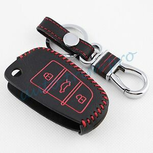 Leather Key Case Shell Chain Keyfob Holder Cover Trim For Audi A1 A3 S3 Q3 A6 Q7