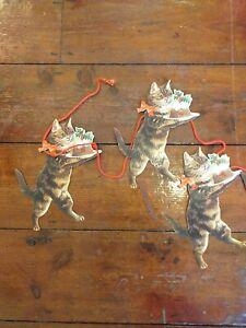 VINTAGE ORIGINAL CHRISTMAS CAT BUNTING DECORATIONS RARE
