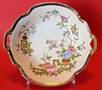 Nippon Noritake Hand Painted Bowl With Gilded Handles - Ikebana Flowers - Japan