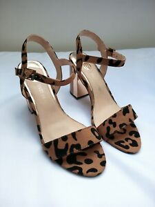 RIVER ISLAND sandals size 6 leopard print high block heel ankle strap party