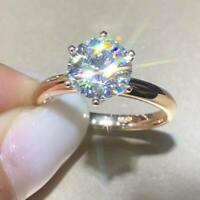 2Ct Round Brilliant Cut Diamond Solitaire Engagement Ring 14K Yellow Gold Finish