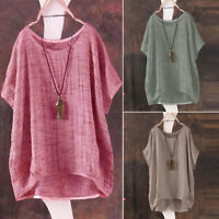 Vintage Womens Ladies Casual Long Sleeve Baggy Cotton Linen T-Shirt Tops Blouse