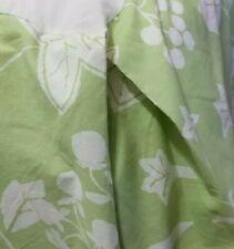 "Queen Bed Skirt Tailored Box Pleat Cotton Blend Green White Botanical,14 "" drop"