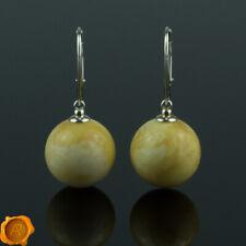 Rare White Butterscotch Baltic Amber Jewelry Beads Dangle Earrings 925 Silver