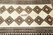 VINTAGE South-west Geometric IVORY Gabbeh Area Rug Hand-made Oriental WOOL 3'x7'