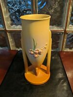 Roseville Pottery 1930s IXIA Gold Yellow Footed Vase 851-10. Beautiful!