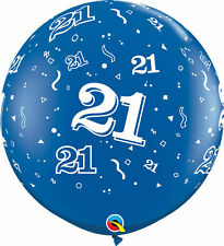 1 x Blue 21st Birthday Giant 3ft Qualatex Latex Balloon Party Decoration