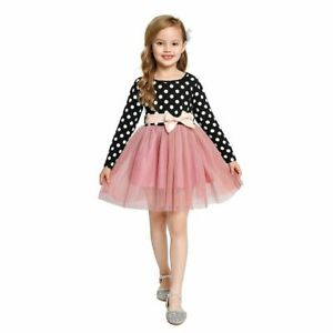 Girls Long Sleeve Casual Clothes White Black Dress Children Elegant Party Gown