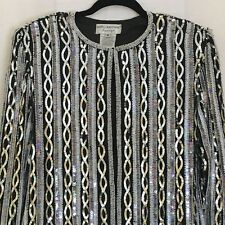 Vintage Adrianna Papell Womens Evening Sequin Beaded Jacket Small Silver Black