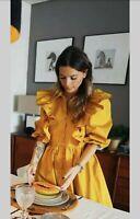 BNWT ZARA Voluminous Ruffle Shirt Dress SIZE M Mustard 2240/202