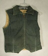 S4008 Eddie Bauer Goose Down Insulated Green Corduroy Reversible Vest
