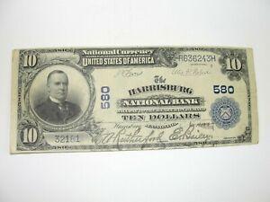 1902 US $10 National Bank Note Harrisburg National Bank Charter #580