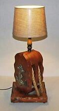 【RARE】Large Vintage Naval Anchor Maritime Block/Tackle w Rope Wooden Lamp/Light!