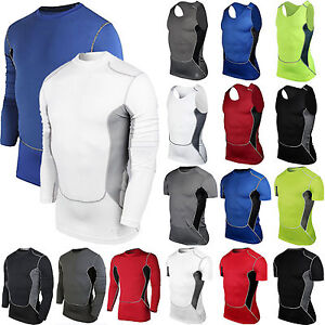 Men's Compression Running T-Shirt Base Layer Gym Sports Joggers Vest Top Tee