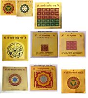 Yantra protection Hindu Yantram Gold Plated Yantras For Home And Office.KUBER