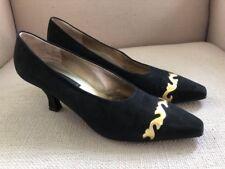 Donna Karan Vintage Black Label Black Suede Pumps Heels Gold Trim Size 9.5 Aa