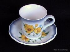 Mikasa Country Club Amy Cup & Saucer Yellow Wildflowers Blue Edge