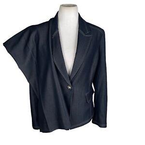 New TAHARI ASL Denim Blue Stretch Polyester Blend Pant Suit Size 14P MSRP $290