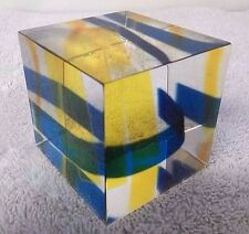 Vintage Op Art Lucite Acrylic Kinetic Sculpture Cube Enzo Mari Signed Kagan 2644
