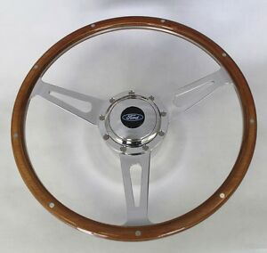 "Maverick Torino Galaxie LTD GT 9 Hole Wood Steering Wheel 15"" Ford Center"