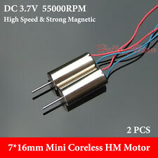 2PCS 7mm*16mm High Speed DC 3.7V 55000RPM  Micro Coreless HM Motor DIY RC Drone