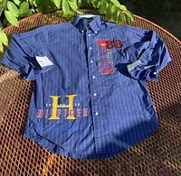 MENS VINTAGE LIGHTLY WORN TOMMY HILFIGER LONG SLEEVE STRIPED BUTTON UP SHIRT S